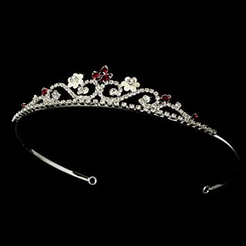 Amazon.com   Analia Silver   Red Wedding Bridal Tiara Headband ... 391a7859096