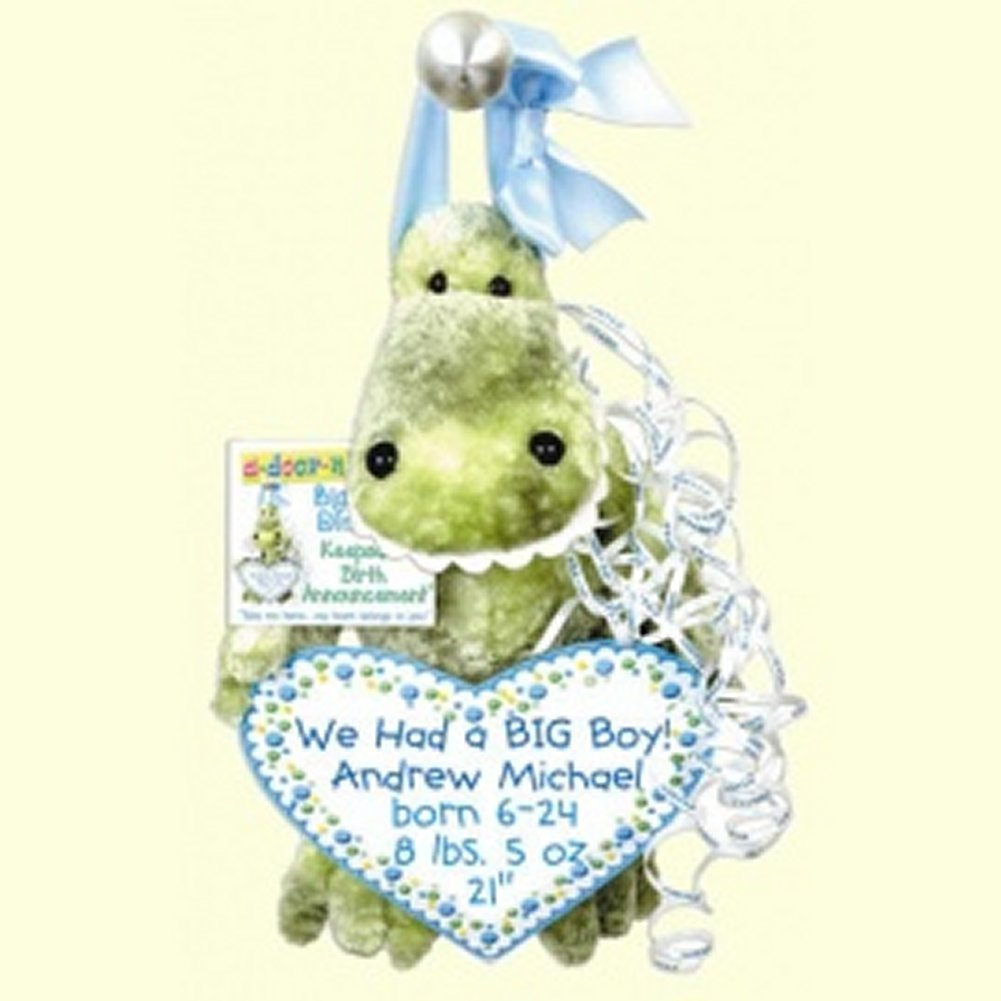Big Teeth Dinosaur Keepsake Birth Announcement by a-door-nimals (Image #1)