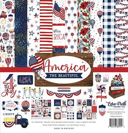 (Echo Park Paper Company ATB192016 America The Beautiful Collection Kit Paper, red, White, Blue, Navy)