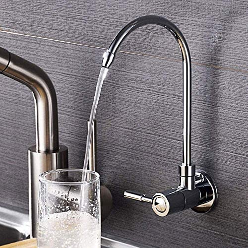 キッチン蛇口 台所用水栓 蛇口 キッチンバスルームに適しで壁キッチンのシンクの蛇口、浴室の洗面台の蛇口、360度回転、ホットとコールド・コントロール、304ステンレス鋼、