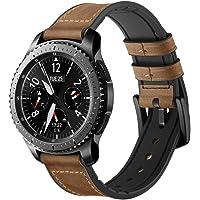 Jasinber Correa de Piel Genuina con Banda de reemplazo de Sudor híbrido de Silicona para Samsung Galaxy Watch 46mm / Gear S3 Frontier/Classic (Marrón)