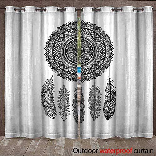 (Feather Outdoor Door Curtain Ethnic Dream Catcher with Blooming Foliage Leaves with Hanging Aztec QuillsW108 x L96 Black and White)