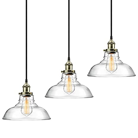 Upgraded 3-Pack Pendant Light Hanging Glass Ceiling Mounted ...