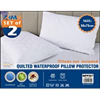 Waterproof Quilted 2pk Pair Pillow Protector Topper, Hypoallergenic, Super Soft -Breathable and Noiseless Mattress Cover…