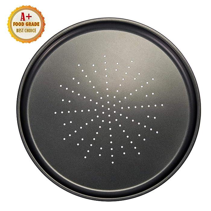 Pizza Pans With Holes 12 Inch Pizza Pan Dishwasher Safe Perfect Results Premium Non-Stick Bakeware Pizza Crisper Pan (1 set)