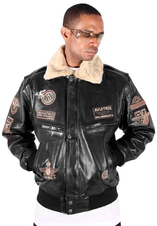 Aviatrix Mens Boys Black Bugatti Pilot Flying Leather Jacket ...