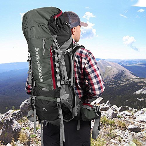 3112b45e19 ... OutdoorMaster 70L + 5L Hiking Backpack - Internal Frame Waterproof Cover  (Black) ...
