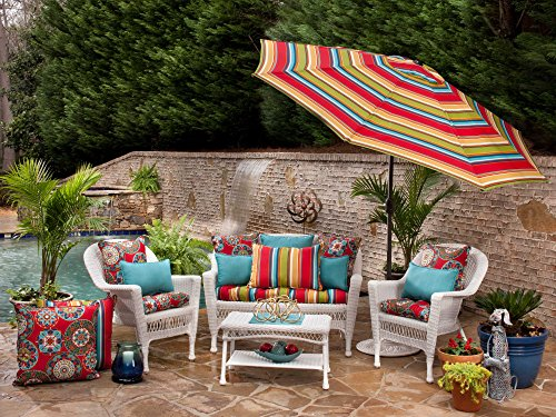 Pillow Perfect Indoor/Outdoor Forsyth Corded Rectangular Throw Pillow, Turquoise, Set of 2 - Includes two (2) outdoor pillows, resists weather and fading in sunlight; Suitable for indoor and outdoor use Plush Fill - 100-percent polyester fiber filling Edges of outdoor pillows are trimmed with matching fabric and cord to sit perfectly on your outdoor patio furniture - patio, outdoor-throw-pillows, outdoor-decor - 61lCvVx0uxL -