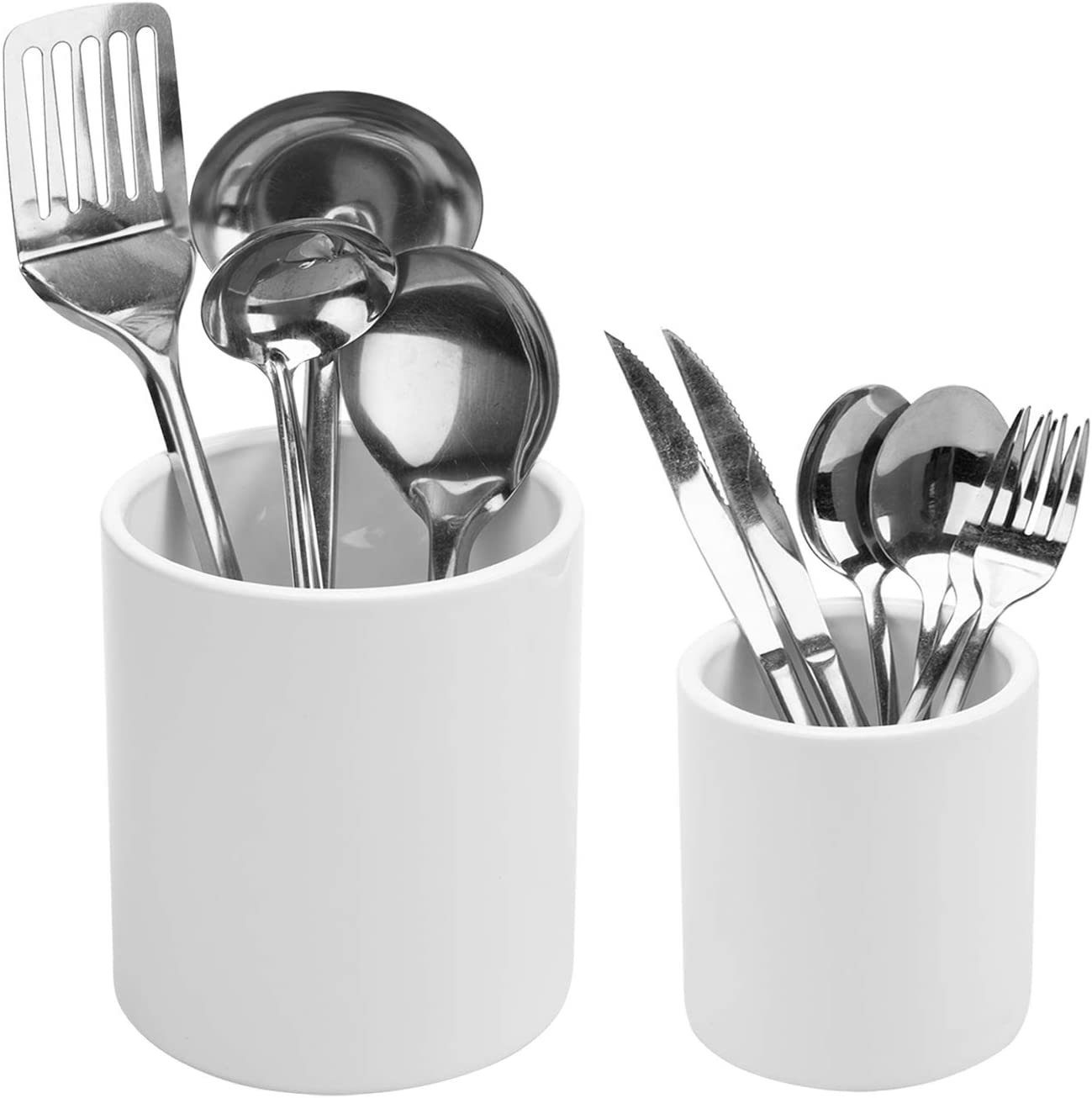 MyGift Small & Large White Ceramic Kitchen Crock Utensil Holder, Set of 2
