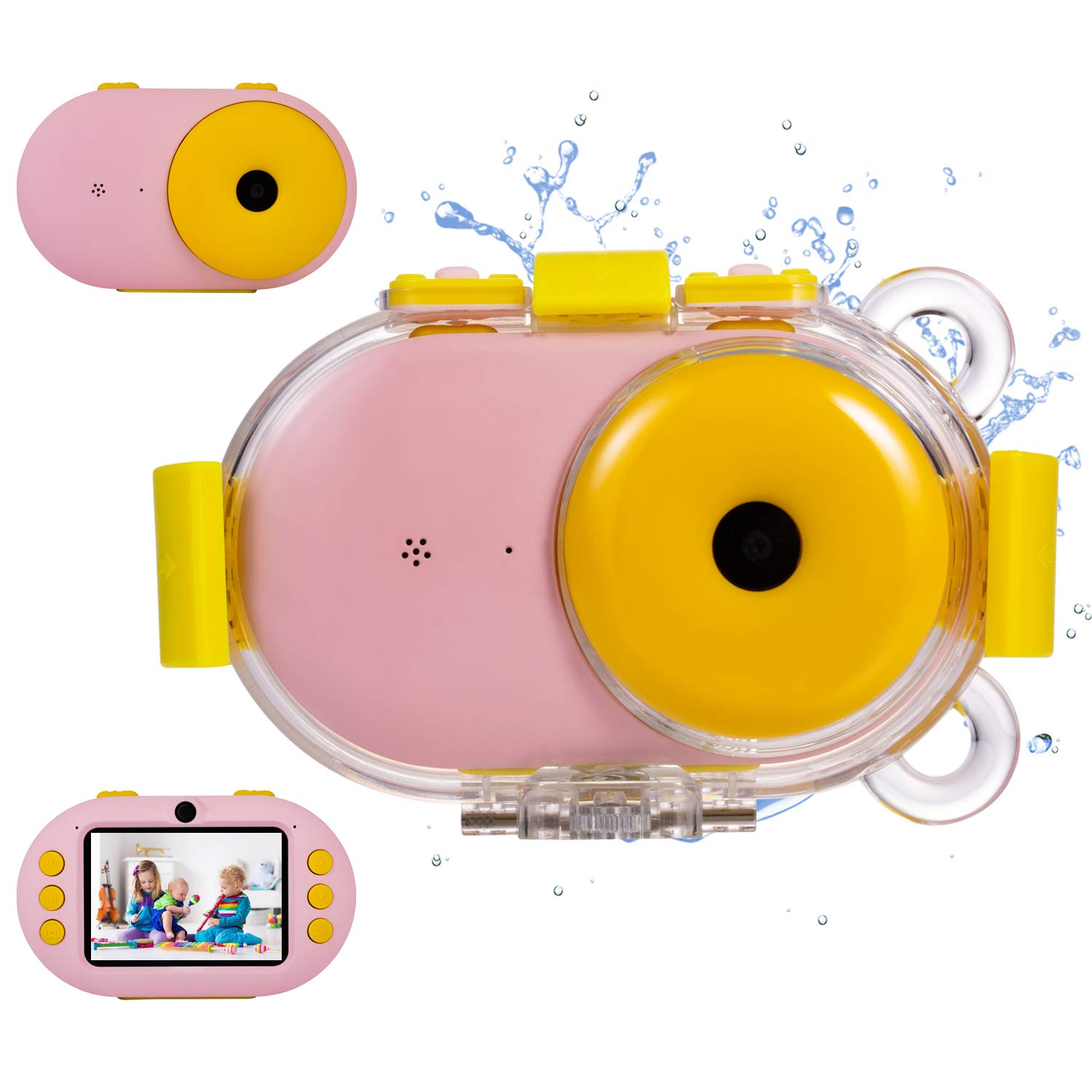 omzer Kids Camera Waterproof Gift Cameras with Shockproof Fogproof Shell for 3-10 Years Old Girls Boys, Underwater Digital Cameras for Kids Beach Snorkeling, Pink(16GB Memory Card Included)