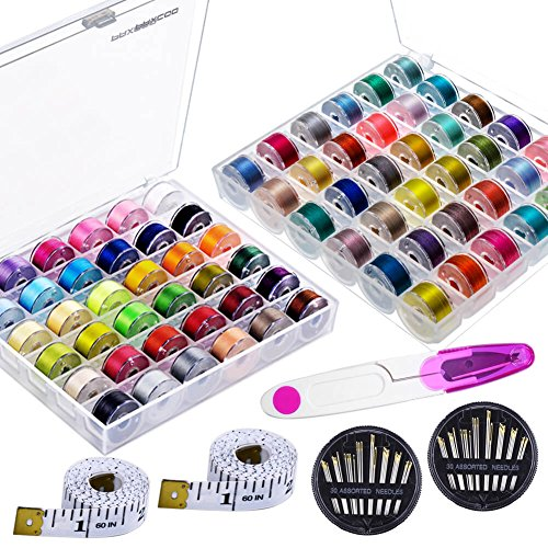 Paxcoo 72 Pcs Bobbins and Sewing Threads with 60 Pcs Sewing Needles, Scissors and 2 Pcs Measuring Tapes for Brother Singer Babylock Janome Kenmore Sewing Machine (Starter Thread)