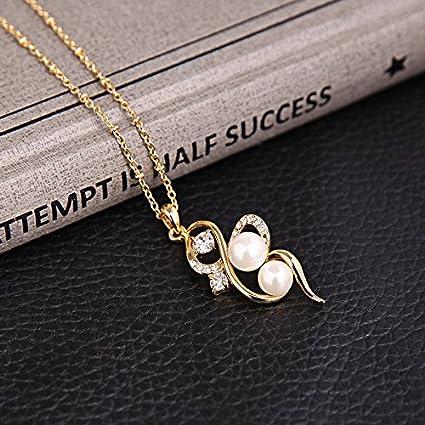 Femmes Plaqu/é Or Perle Pendentif Bijoux Forme De Coeur Collier Boucle Doreille Stud Ensemble Cadeaux De Saint Valentin