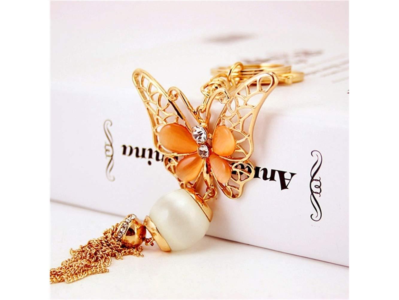 Orange Bag Ornament Yhcean Creative Creative Exquisite Butterfly Tassel Keychain Animal Key Trinket Car Bag Key Holder Decorations