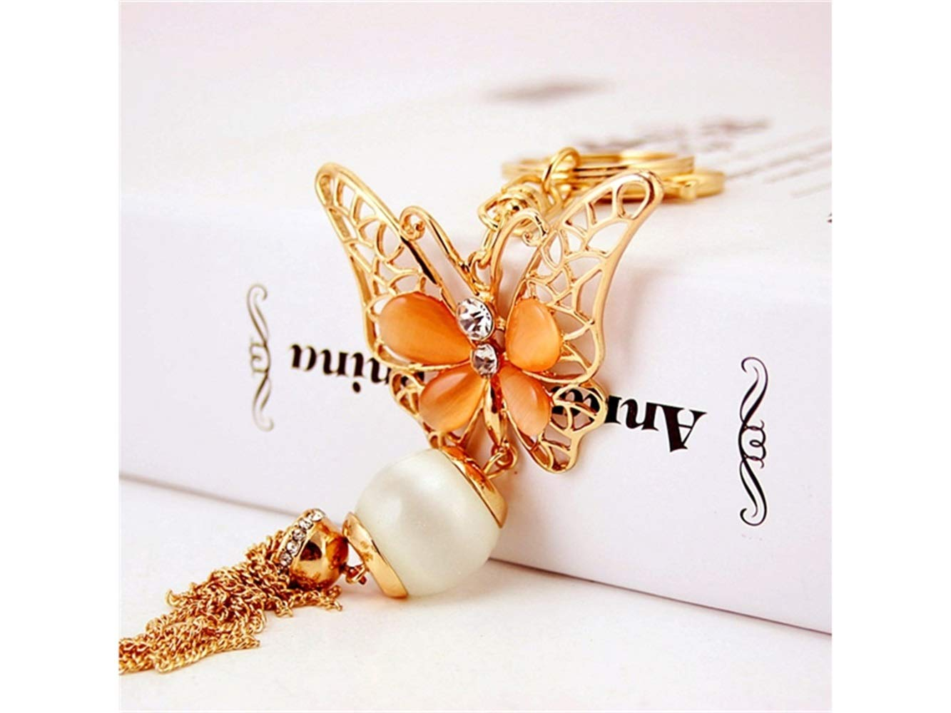 Car Keychain, Creative Exquisite Butterfly Tassel Keychain Animal Key Trinket Car Bag Key Holder Decorations(Orange) for Gift