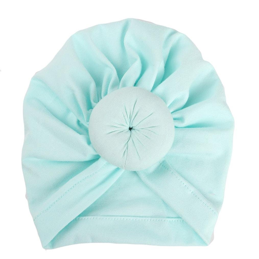 Newborn Baby Girl India Soft Tie Hat Cotton Turban Knot Cap Headwear Hats (Mint Green)