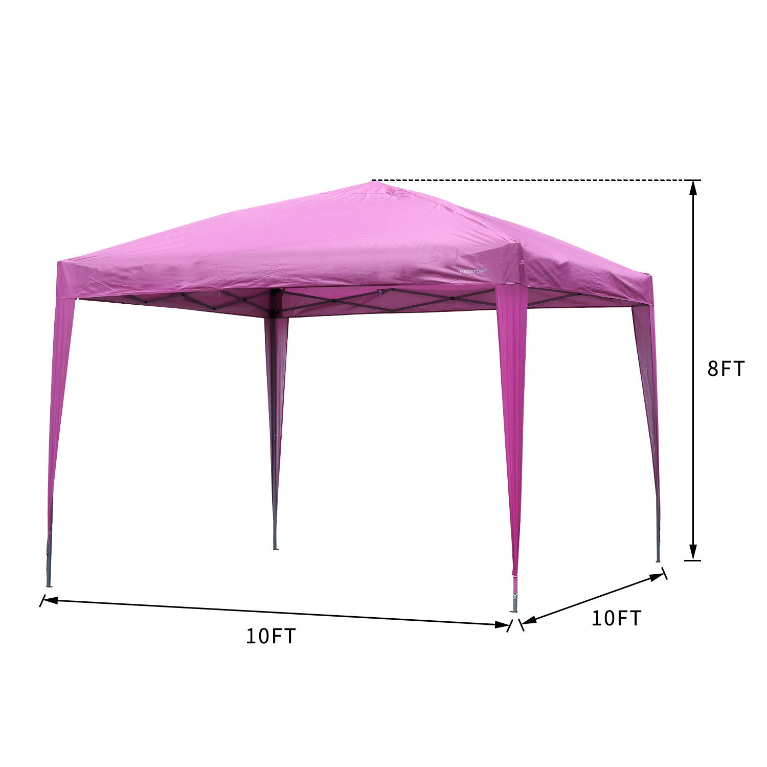 Outdoor Basic 10×10 Pop up Canopy Party Tent Instant Gazebos with 4 Removable Sidewalls Pink