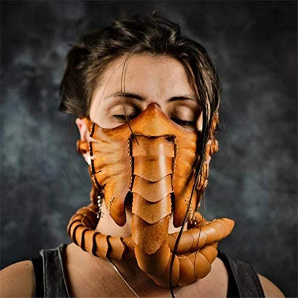 Facehugger Mask Alien Face Cover Halloween Horror Scorpion Latex Mask Movies Cosplay Performance Accessory Cosplay Party Supplies Masquerade Headgear for Adults