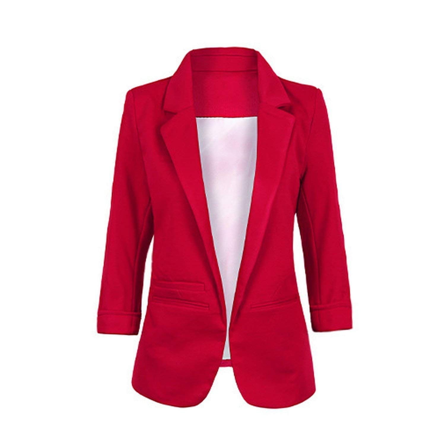 Winered Friendshiy Womens Casual Work Office Open Front Blazer Jacket Sleeve Suit Slim