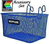 Kettler Tricycle Universal Accessory Set with Blue Metal Basket, Adjustable Seat Belt, Red Metal Bell & Toe Clips Gift Set Bundle - 4 Pack