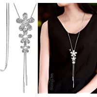 Shining Diva Fashion 9 Latest Designs Crystal Flower Stylish Long Chain Pendant Party Wear Necklace for Women and Girls