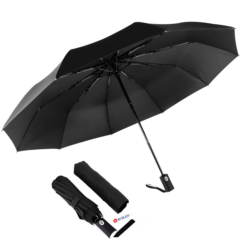 Travel and Automatic Umbrella Comp MIKAFEN Umbrella Windproof With Wood Handle