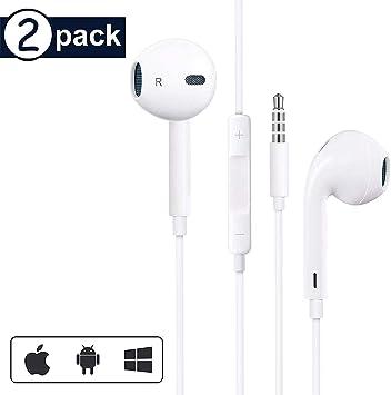 2 Pack】 Auriculares con Cable Sonido estéreo Auriculares intrauditivos con Auriculares de 3.5 mm Enchufe Micrófono Control de Volumen para Entrenamiento iPhone 6/6s/Huawei/Samsung/Xiaomi/Sony Blanco: Amazon.es: Electrónica