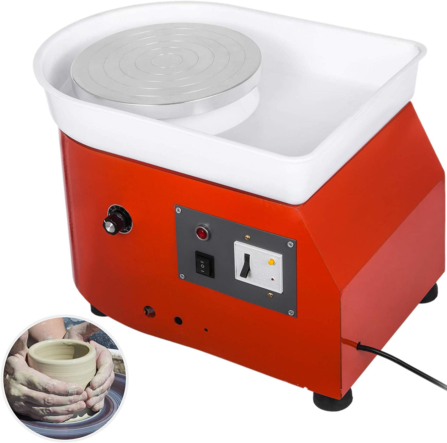 25CM 350W Electric Pottery Wheel Machine Ceramic Clay Work Forming Machine with Lever and Foot Pedal ABS Basin DIY Clay Art Craft Shaping Tools Gray Color