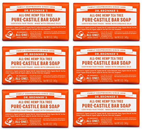 Dr. Bronner's Pure-Castile Bar Soap - Tea Tree, 5 oz (6 Pack)