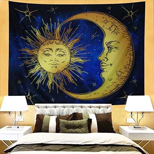 Ameyahud Psychedelic Wall Tapestry Moon and Sun Tapestry Wall Hanging Retro Indian Celestial Energy Mystic Tapestry Hippy Bohemian Tapestries for Bedroom Dorm Decor