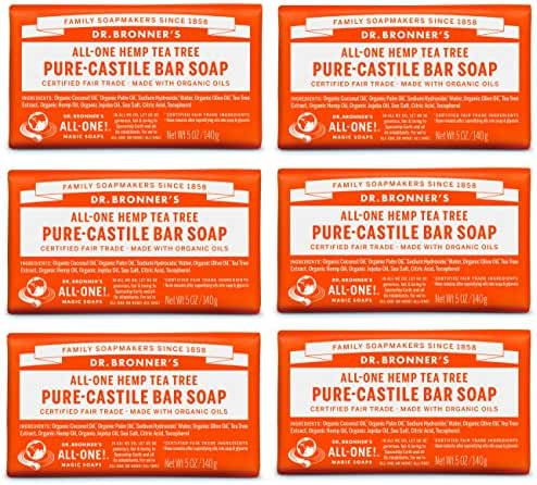 Dr. Bronner's Pure-Castile Bar Soap - Tea Tree, 5 oz (6 Pack)