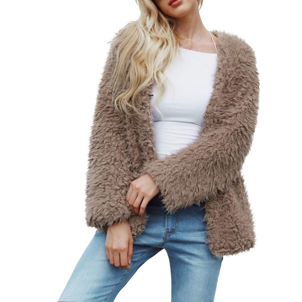 Realdo Womens Fashion Faux Fur Coat Solid Cardigan Jacket Outerwear