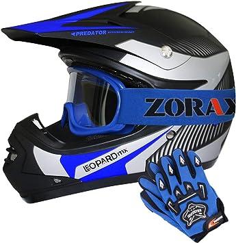 49-50cm Leopard LEO-X19 PREDATOR Kids Motocross Motorbike MX Helmet /& Gloves Blue S