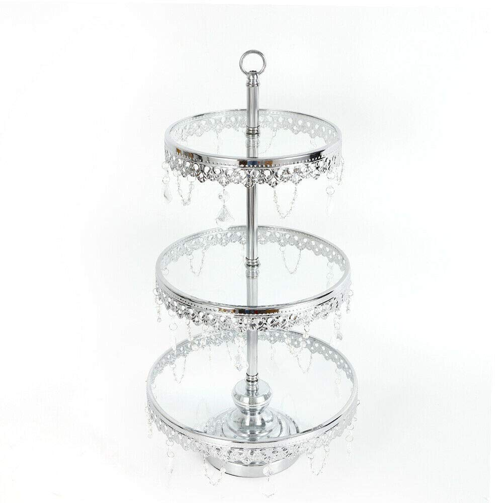 WUPYI Cake Stand,Round Metal Glass Top Cupcake Stand Tower Dessert Plate Cupcake Tower Holder with Crystals for Birthday Party Wedding Display (Silver - 3tier)