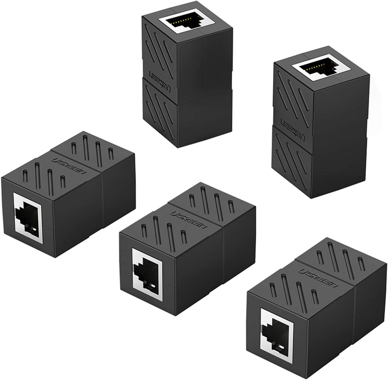 Cat5e Crossover Coupler GOWOS RJ45 Female White 50 Pack Unshielded
