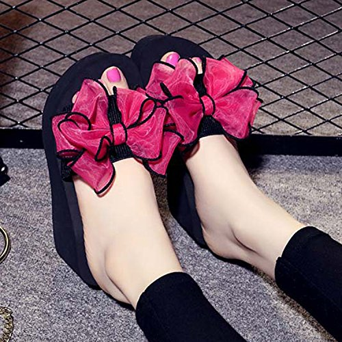 Rose Casual Confort Fille Plage Frestepvie Compensé Rouge Femme Mode Simple Sandales Slippers Plat Espadrilles Chaussons Chaussures qUawUx6