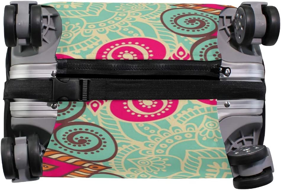 Luggage Cover Suitcase Protector Tribal Floral Flower Art Colorful Fits 26-28 Inch Travel Elastic Design