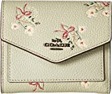 COACH Women's Small Wallet With Floral Bow Print Bp/Pale Green One Size