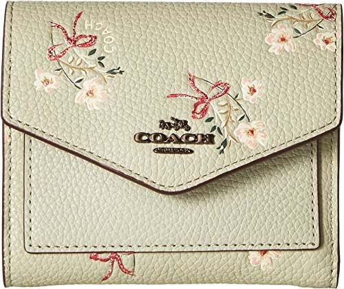 COACH Women's Small Wallet With Floral Bow Print Bp/Pale Green One Size by Coach