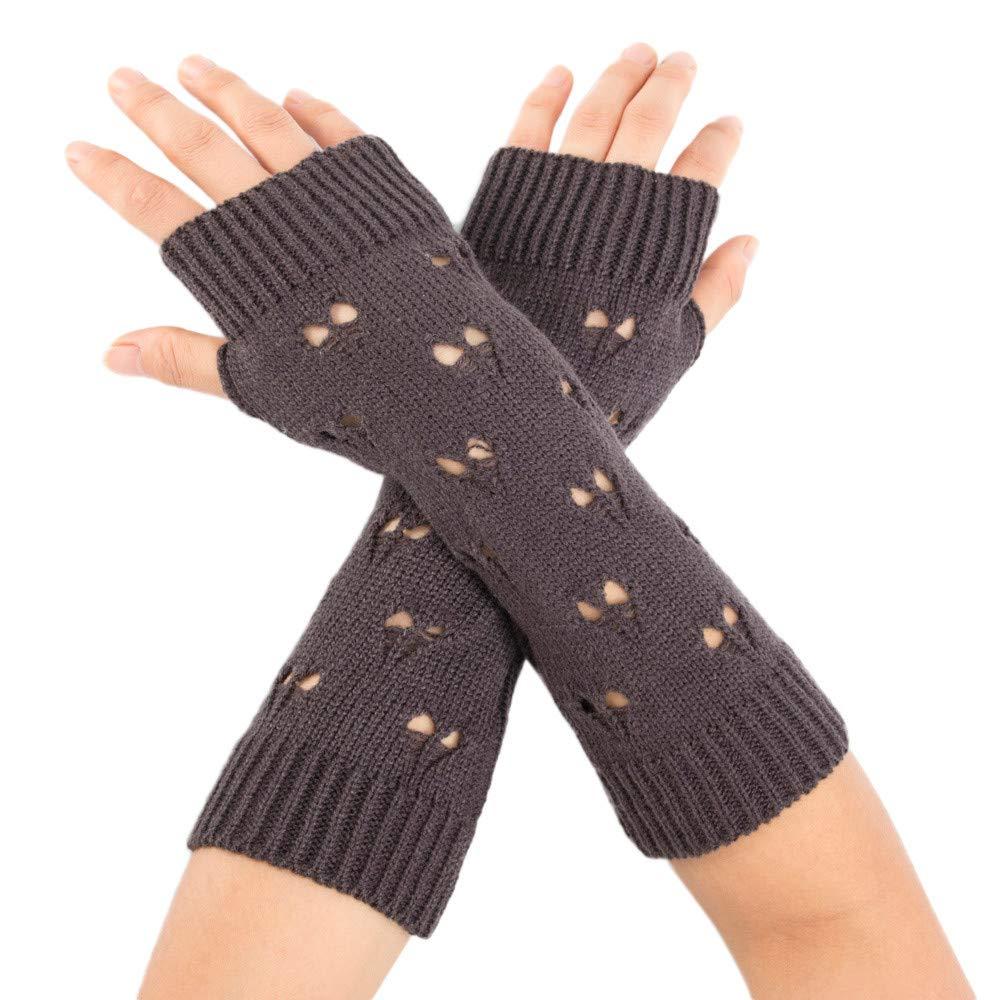 PASATO Women Winter Wrist Arm windproof Warmer Solid Knitted Long Fingerless soft Comfortable Gloves Mitten (Deep Gray,Free Size)