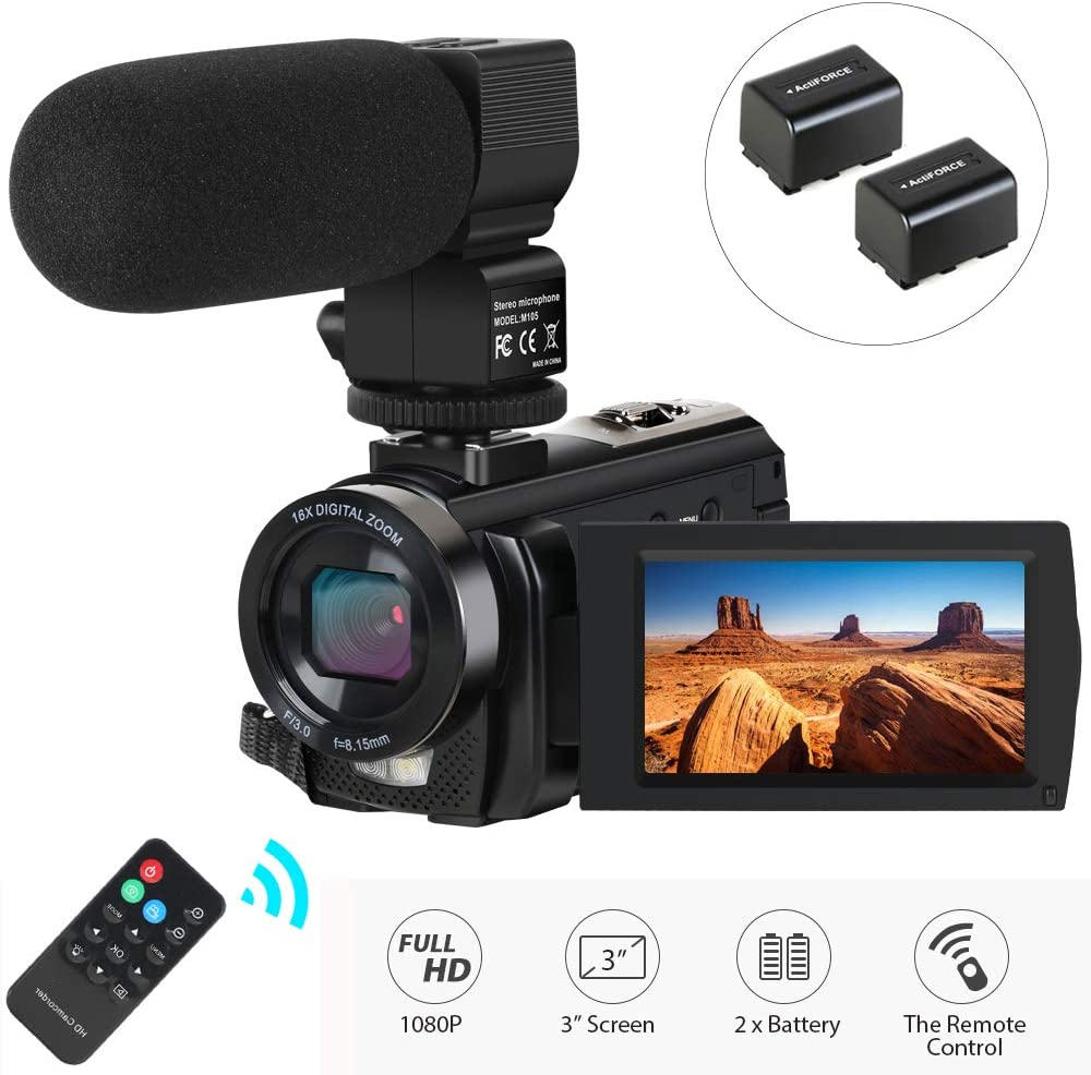 Amazon Com Video Camera Camcorder Actinow Digital Camera Recorder With Microphone Hd 1080p 24mp 16x Digital Zoom 3 0 Inch Lcd 270 Degrees Rotatable Screen Youtube Vlogging Camera With Remote Control 2 Batteries
