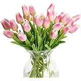 DELEY 12pcs Tulip Fiori Artificiali Finti Falso Bouquet di Nozze Sposa Della Casa Decorazione Domestica Studio Decor Rosa Scuro