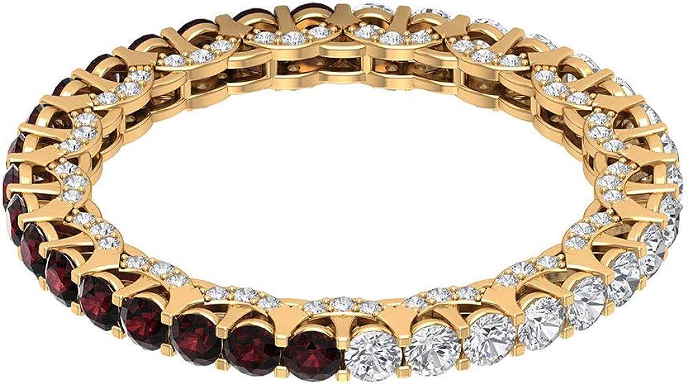 Anillo de novia de granate de 0,85 ct, certificado de 2 mm, anillo de piedras preciosas para mujer, anillo de eternidad de 0,88 quilates, 18K Oro