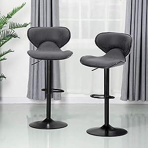 ALPHA HOME Bar Stools Counter Height Adjustable Swivel Bar Chair Modern Pu Leather Kitchen Counter Stools Bar Height Bar Stools Set of 2,350 lbs Capacity ,Grey