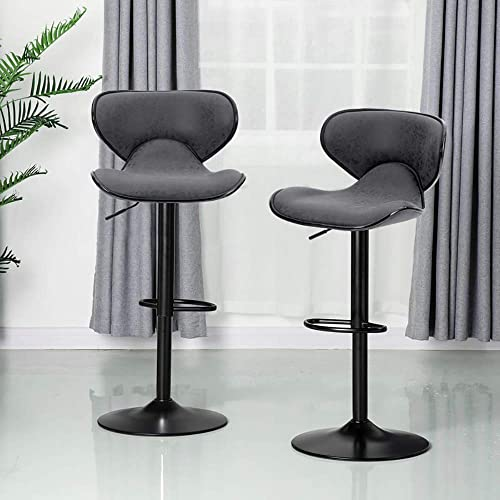 ALPHA HOME Bar Stools Counter Height Adjustable Swivel Bar Chair Modern Pu Leather Kitchen Counter Stools Dining Chairs Set of 2 350 lbs Capacity,Grey