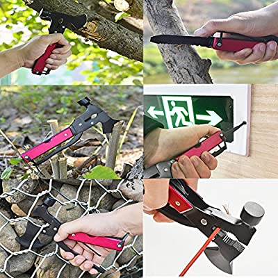 hongze Camping Tool Kit Hamer Axe,Survival kit Car Tool Kit in Durable Black Oxide Stainless Steel with Hammer, Axe, Knife, Screwdriver, Saw, Bottle Opener, File, Perfect for Camping, Survival