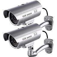 2 X Camaras Falsas de Seguridad | Cámara de Vigilancia CCTV Simulada para Uso en Interiores o Exteriores con luz LED…