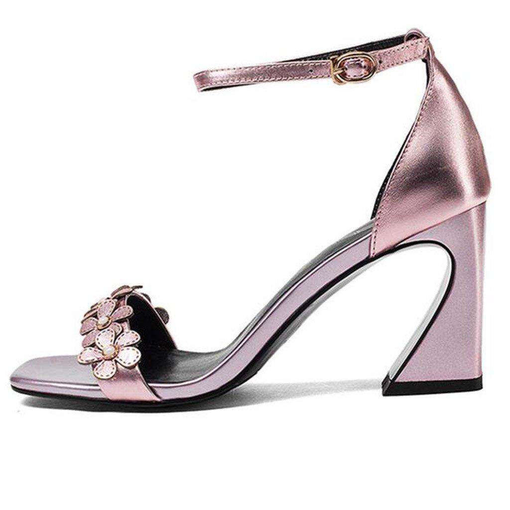 Raue FersenSandale Frau Sommer Mode Zehe Öffnen Blumendekoration Blumendekoration Öffnen Schuhe mit Hohen Absätzen Pink 2d2bde