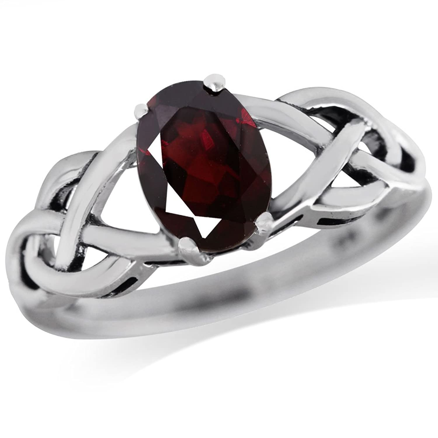 1.4ct. Natural Garnet 925 Sterling Silver Celtic Knot Solitaire Ring