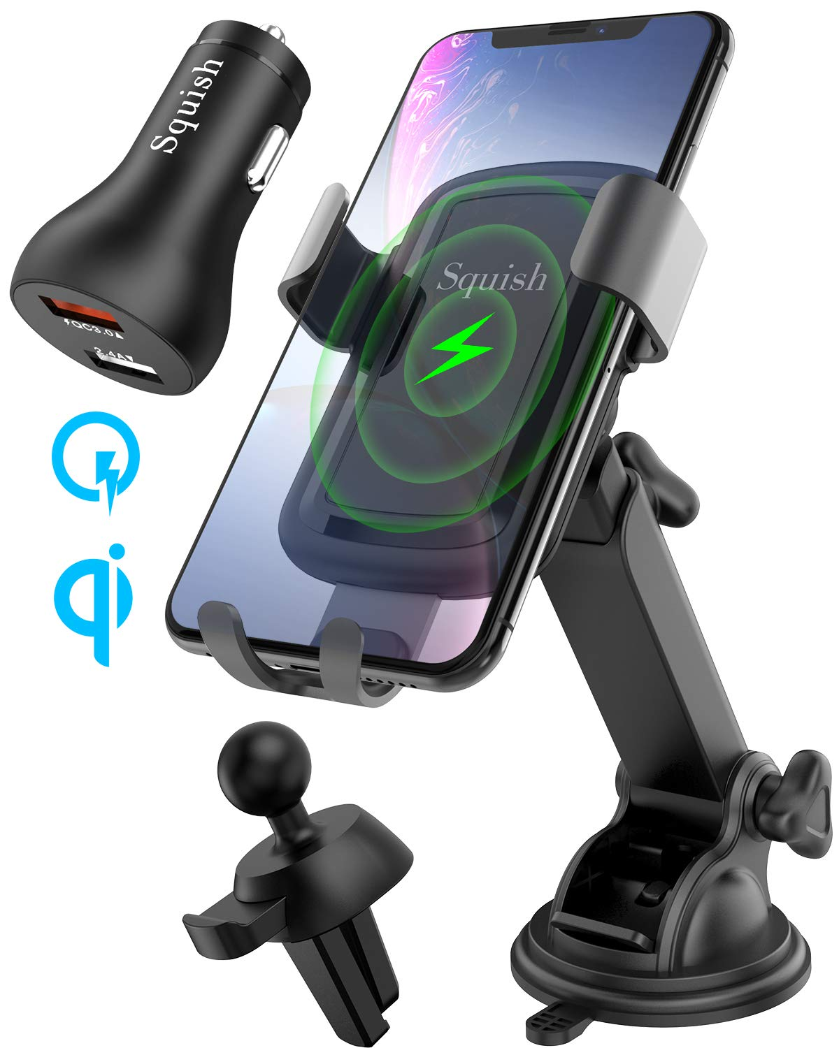 Squish Qi Wireless Car Charger Mount with QC 3.0 Car Charger, Air Vent Holder Included, 10W 7.5W Fast Charging Car Mount for iPhone Xs MAX/XR/XS/X/8/8 Plus Samsung S10 S9 S8 S7 Samsung Note 9 8 7 etc by Squish