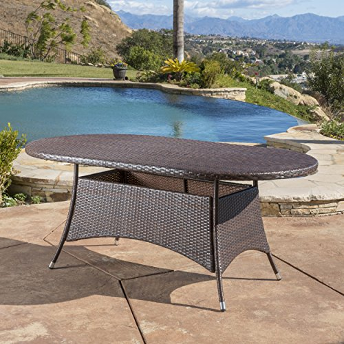 (Christopher Knight Home Bristle Multi Brown PE Oval Dining Table)